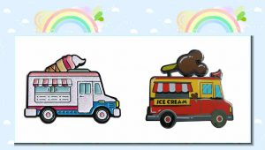 Ice Cream Car Enamel Lapel Pins