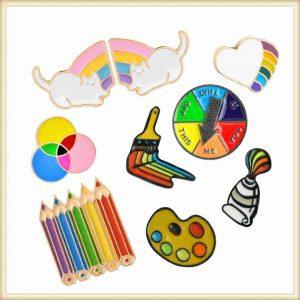 Rainbow Painting Soft Enamel Pins