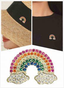 Rainbow Pins with Diamonds