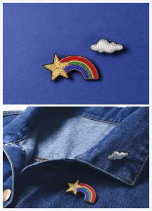 Rainbow Pins with Plastic Beads