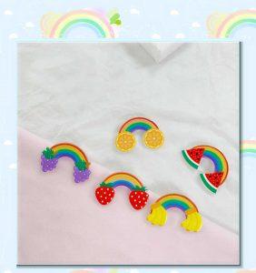 Rainbow and Fruit Custom Pins