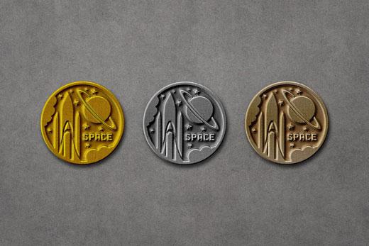 metallic pin badges mockup