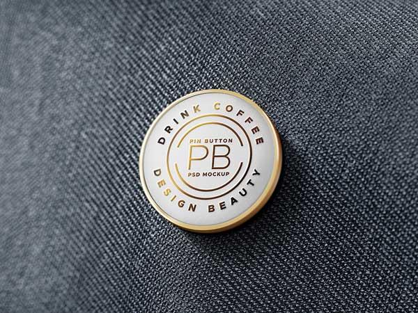metal pin badge mockup
