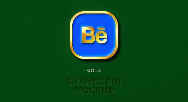 gold blue free enamel pin mockup