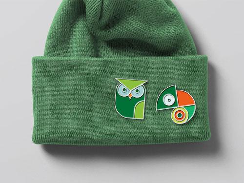 green hat enamel pin mock up