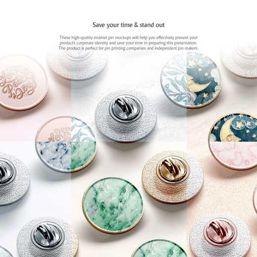 round enamel pin mockup