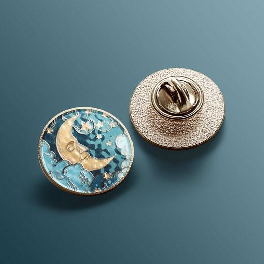 round enamel pin mock up